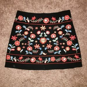 Floral Embroidered Skirt, Size S